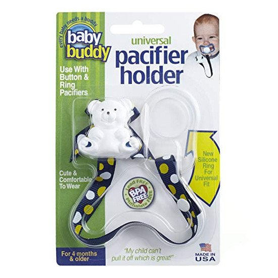 Baby Buddy Universal Pacifier Holder - Dots - Navy/Yellow Product