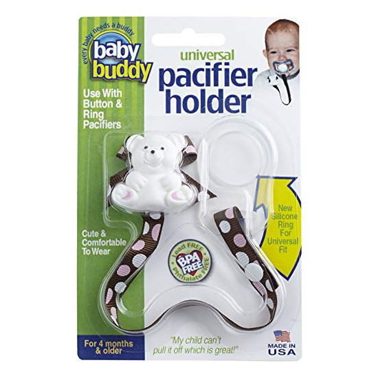 Baby Buddy Universal Pacifier Holder - Dots - Pink Chocolate Product