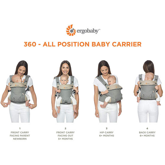 Ergo Baby 4 Position 360 Baby Carrier - Pearl Grey_thumb1_thumb2