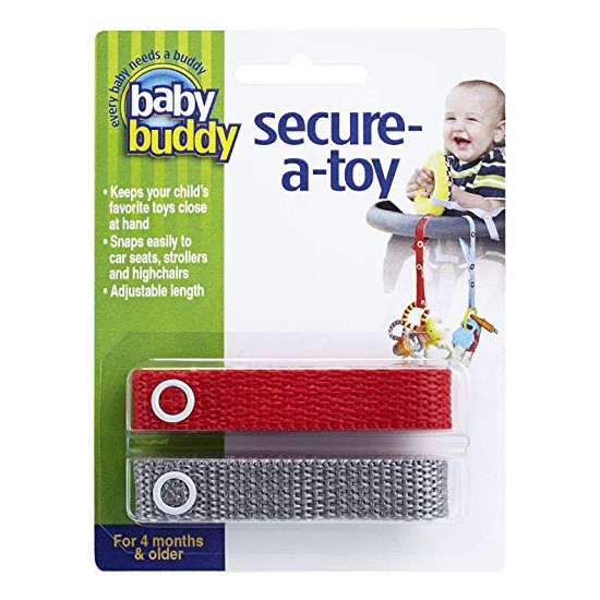 Baby Buddy Secure-A-Toy - 2 Pack - Red/Grey