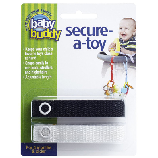 Baby Buddy Secure-A-Toy - 2 Pack - White/Black