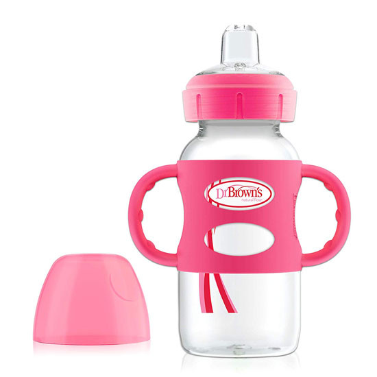 Dr. Brown Options Wide-Neck Sippy Spout Baby Bottle with Handle - 9oz - Pink_thumb1