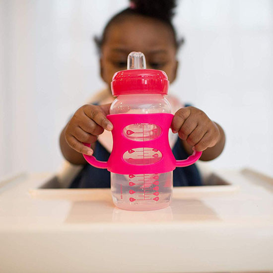 Dr. Brown Options Wide-Neck Sippy Spout Baby Bottle with Handle - 9oz - Pink_thumb1_thumb2
