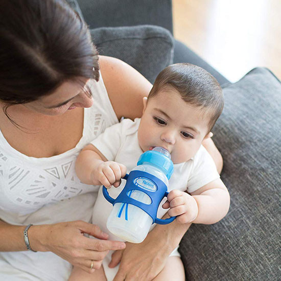 Dr. Brown Options Wide-Neck Sippy Spout Baby Bottle with Handle - 9oz - Blue_thumb1_thumb2