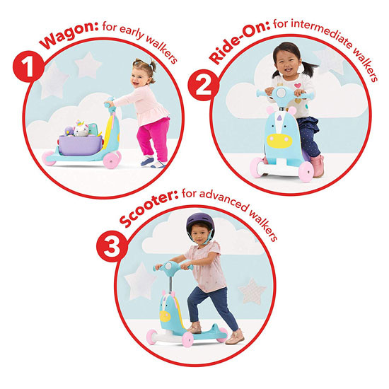 Skip Hop Kids 3-in-1 Ride On Scooter and Wagon Toy - Unicorn_thumb3