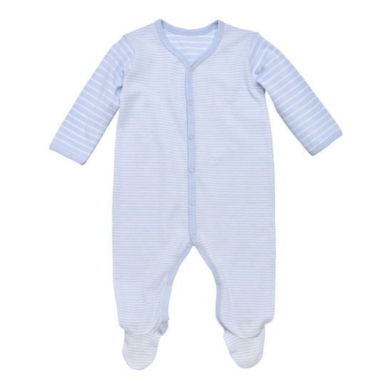 Under The Nile Organic Cotton Snap Front Footie with Mitts - Blue Stripe Product