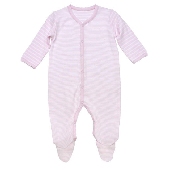 Under The Nile Organic Cotton Snap Front Footie with Mitts - Pink Stripe_thumb1