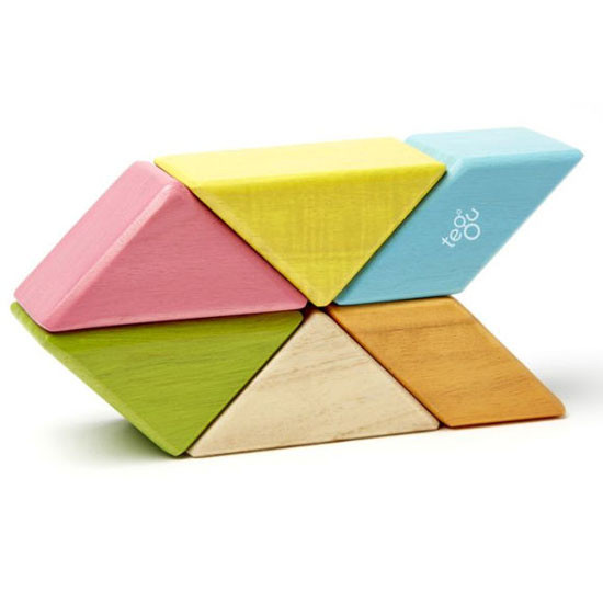 Tegu 6 Piece Pocket Pouch Prism Magnetic Wooden Block Set - Tints_thumb5