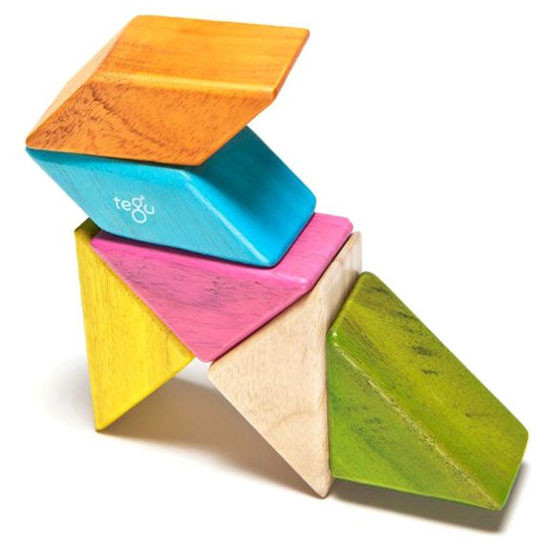 Tegu 6 Piece Pocket Pouch Prism Magnetic Wooden Block Set - Tints_thumb6