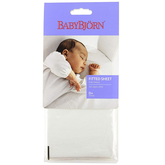 Baby Bjorn Fitted Sheet for Cradle - Organic White_thumb3