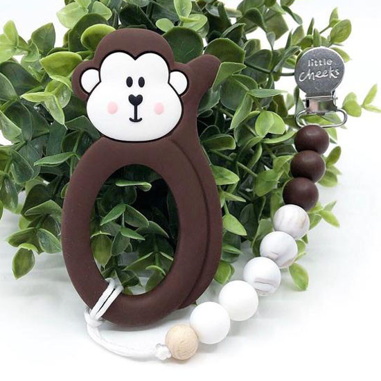 Little Cheeks Monkey Clip - Brown_thumb1