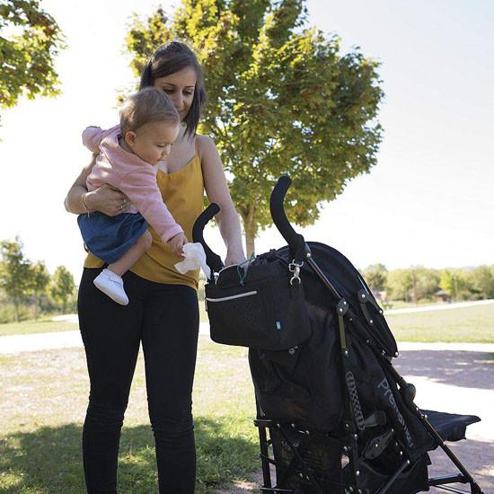 Babymoov Premium Universal Stroller Organizer - Black Outside
