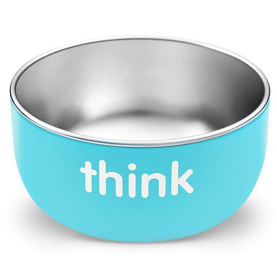 ThinkBaby High Rise BPA Free Baby Bowl - Light Blue Open