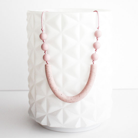 Little Teether Sawyer Teether Necklace - Pale Pink Stone Product