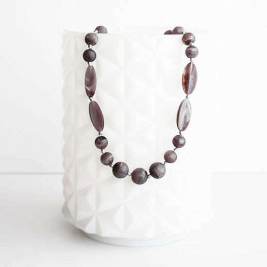 Little Teether Addison Teether Necklace - Plum Marble Product