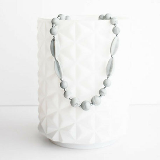 Little Teether Addison Teether Necklace - Powder Marble Grey Product