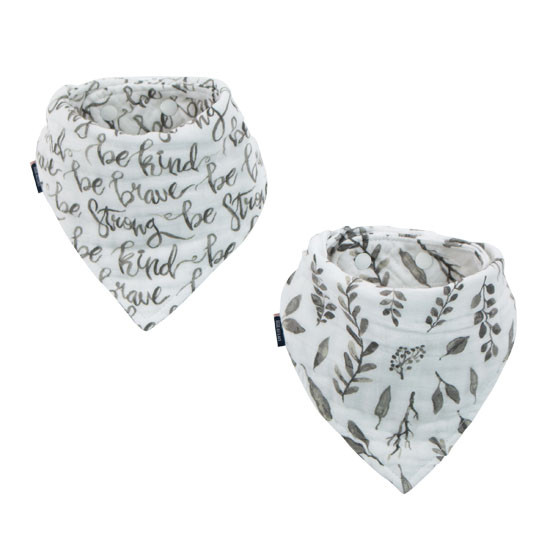 Bebe Au Lait Double Muslin Bandana Bib - Just Be + Leaves Set