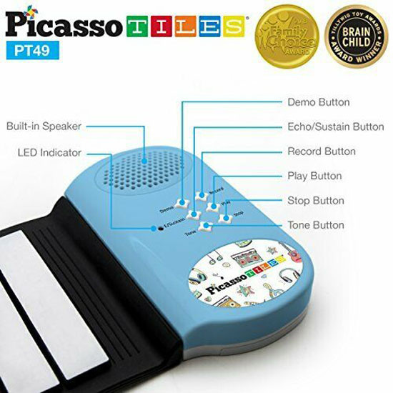 PicassoTiles PT49 Kid's 49-key Flexible Roll-up Piano Featres