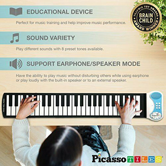 PicassoTiles PT49 Kid's 49-key Flexible Roll-up Piano Learn