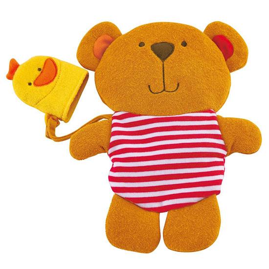 Hape Teddy and Duck Bath Mitt Set For Play