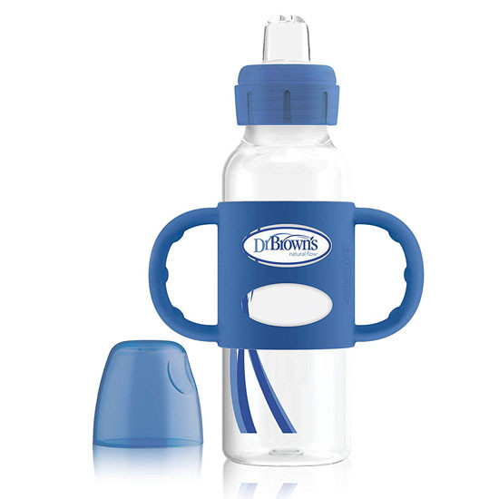 Dr. Brown Options+ Sippy Spout 8oz Bottle with Silicone Handle - Blue