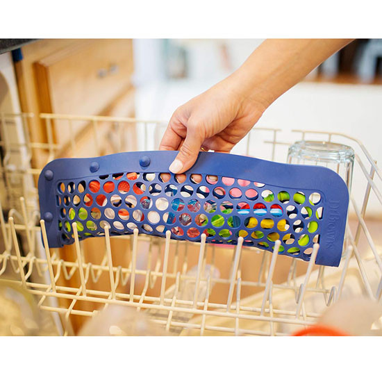 Dr Brown's Silicone Dishwasher Bag - Blue in Action