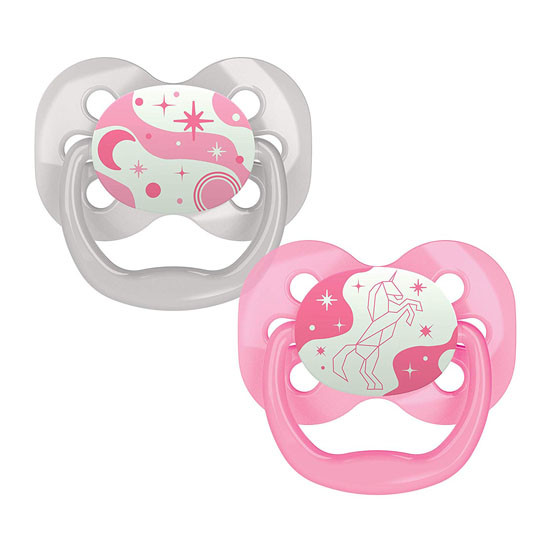 Dr. Brown Advantage Glow-in-The-Dark Stage 1 Pacifiers - 2 Pack Pink