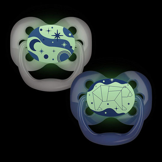 Dr. Brown Advantage Glow-in-The-Dark Stage 1 Pacifiers - 2 Pack Blue Glow