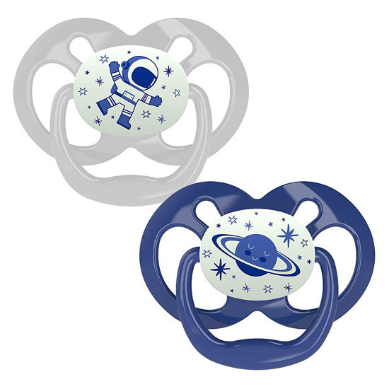 Dr. Brown Advantage Glow-in-The-Dark Stage 2 Pacifiers - 2 Pack blue