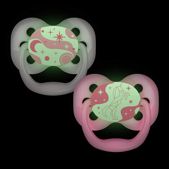 Dr. Brown Advantage Glow-in-The-Dark Stage 2 Pacifiers - 2 Pack Glow Pink
