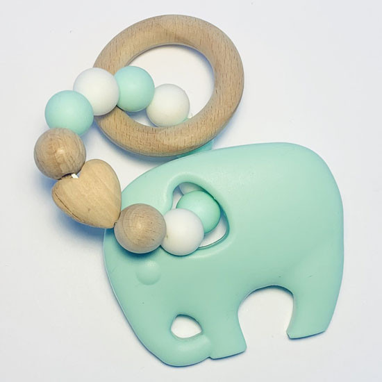 Sugar + Maple Silicone with Beechwood Teether- Elephant Mint