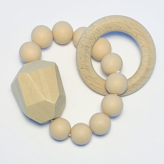Sugar + Maple Silicone with Beechwood Teether - Gem Natural