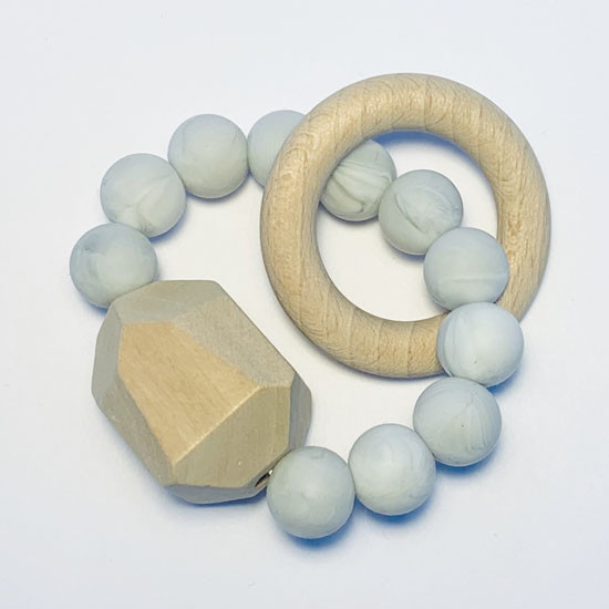 Sugar + Maple Silicone with Beechwood Teether - Gem Marble