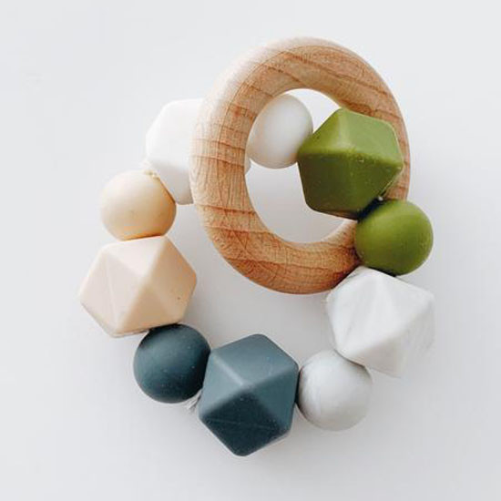 Sugar + Maple Silicone with Beechwood Teether - Multi Color Grey