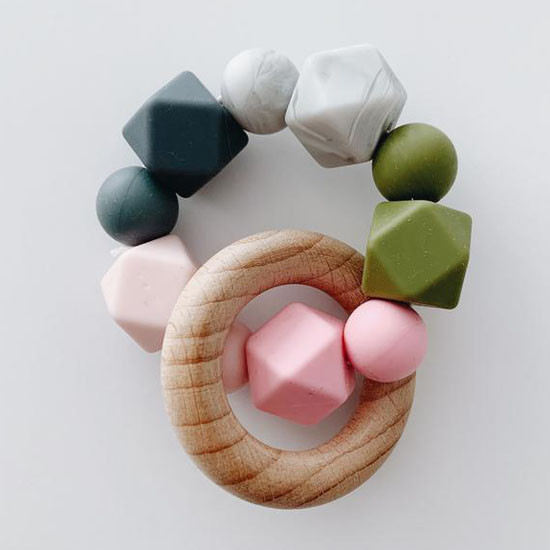 Sugar + Maple Silicone with Beechwood Teether - Multi Color Pink