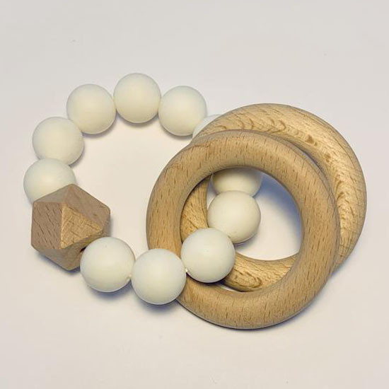 Sugar + Maple Silicone with Beechwood Teether - Rings White