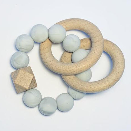 Sugar + Maple Silicone with Beechwood Teether - Rings Grey