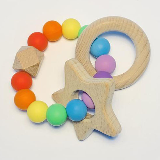 Sugar + Maple Silicone with Beechwood Teether - Rainbow Baby Feature