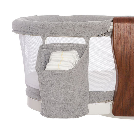HALO Bassinest Swivel Sleeper Luxe Series - Dove Grey Tweed Diaper Holder