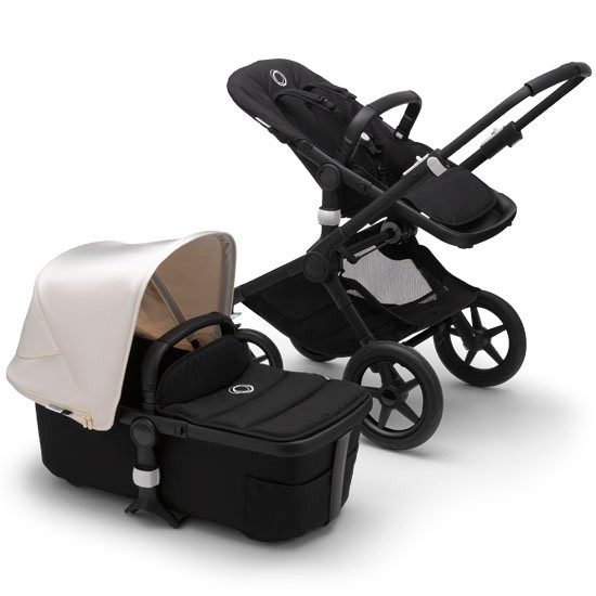 Bugaboo Fox2 Complete Stroller - Black Frame Black with Fresh White Canopy
