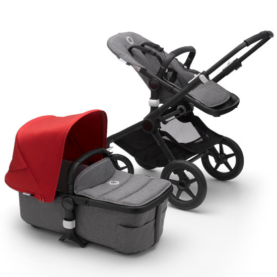 Bugaboo Fox2 Complete Stroller - Black Frame Grey Melange with Canopy Red