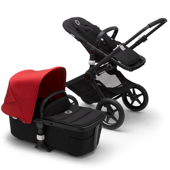 Bugaboo Fox2 Complete Stroller - Black Frame Black with Canopy Red