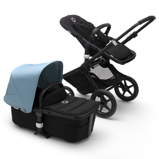 Bugaboo Fox2 Complete Stroller - Black Frame Black with Canopy Vapor Blue