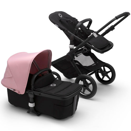Bugaboo Fox2 Complete Stroller - Black Frame Black with Canopy Soft Red
