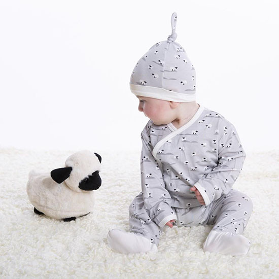 Magnificent Baby Sheeps Meadow Modal Magnetic 3-Piece Kimono Set Lifestyle