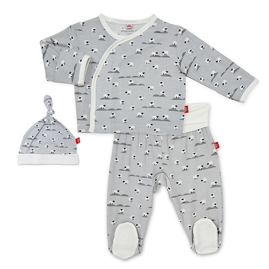 Magnificent Baby Sheeps Meadow Modal Magnetic 3-Piece Kimono Set Main