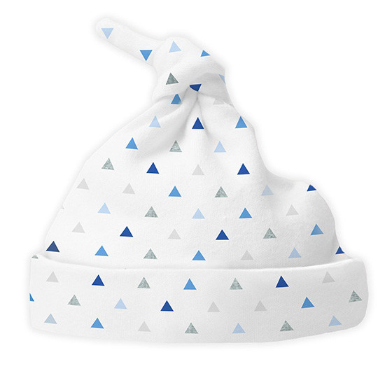 Swaddle Designs Cotton Knit Hat - Tiny Triangles Shimmer Blue