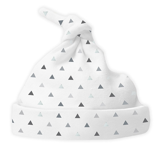Swaddle Designs Cotton Knit Hat - Tiny Triangles Shimmer Sterling