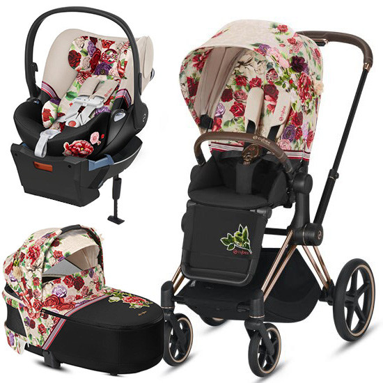 Cybex PRIAM 3 Stroller with Cloud Q and Cot - Spring Blossom