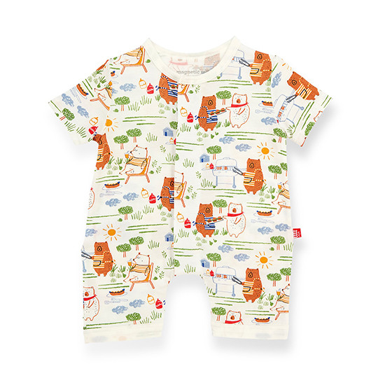 Magnificent Baby Magnetic Bear-b-que Romper